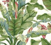 York Premium Peel and Stick PSW1034RL - Banana Leaf Wallpaper White/Green