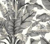 York Premium Peel and Stick PSW1037RL - Banana Leaf Wallpaper White/Black