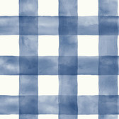 York Premium Peel and Stick PSW1078RL - Checkmate Watercolor Plaid Wallpaper Blue