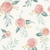Magnolia Home PSW1011RL - Watercolor Roses Peel and Stick Wallpaper Red
