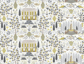 Rifle Paper RI5107 - Camont Wallpaper Linen/Gold