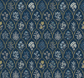 Rifle Paper RI5131 - Hawthorne Wallpaper Navy/Gold