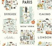 Rifle Paper RI5160 - City Maps Wallpaper Mint