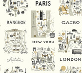 Rifle Paper RI5161 - City Maps Wallpaper Gray/Gold