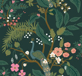 Rifle Paper RI5168 - Peacock Wallpaper Emerald