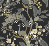 Rifle Paper RI5170 - Peacock Wallpaper Black