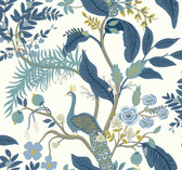 Rifle Paper RI5173 - Peacock Wallpaper Blue