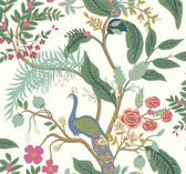 Rifle Paper RI5174 - Peacock Wallpaper Periwinkle