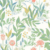 2827-7218 - Spring Garden Off-White Botanical Wallpaper