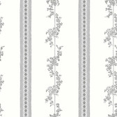 2827-4508 Drottningholm Grey Floral Stripe Wallpaper