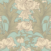 2827-4538 Siri Turquoise Floral Wallpaper