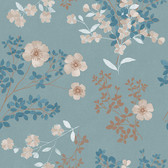 2827-7232 Prairie Rose Teal Floral Wallpaper