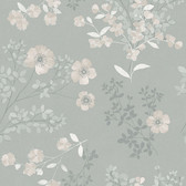 2827-7233 Prairie Rose Taupe Floral Wallpaper