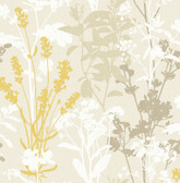 2814-24570 Pippin Mustard Wild Flowers Wallpaper