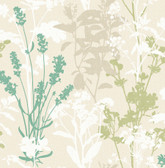 2814-24573 Pippin Green Wild Flowers Wallpaper