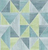 2814-24961 Simpson Blue Geometric Wood Wallpaper