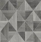 2814-24963 Simpson Grey Geometric Wood Wallpaper