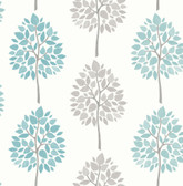 2814-24970 Saar Aqua Tree Wallpaper