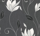 2814-M0783 Gallagher Charcoal Floral Trail Wallpaper
