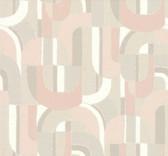 HC7598 Sculpture Garden Wallpaper - Pink/Cream