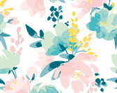 WALS0384 - Delicate Watercolour Flowers Wall Mural