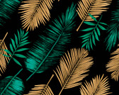 WALS0432 - Emerald Green and Gold Palm Leaves Wall Mural