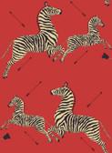 SCS3869 - Masai Red Zebra Safari Scalamandre Self Adhesive Wallpaper