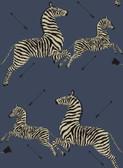 SCS3870 - Denim Zebra Safari Scalamandre Self Adhesive Wallpaper