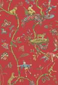 SCS3844 - Tomato Chinoise Exotique Scalamandre Self Adhesive Wallpaper