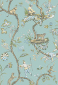 SCS3846 - Robin Egg Chinoise Exotique Scalamandre Self Adhesive Wallpaper