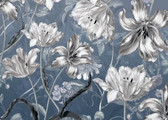 X7-1041 - Silver Florals Wall Mural