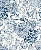 NUS3830 - Navy Secret Garden Peel & Stick Wallpaper