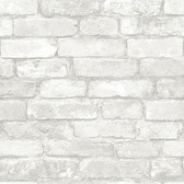 NU3010 - Grey and White Brick Peel & Stick Wallpaper