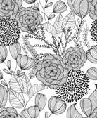 NUS3501 - Black Secret Garden Peel & Stick Wallpaper