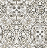 NUS3502 - Black Florentine Tile Peel & Stick Wallpaper