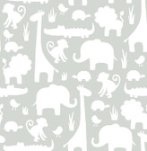 NU1393 - Grey Its A Jungle In Here Peel & Stick Wallpaper
