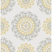 NU1652 - Grey and Yellow Suzani Peel & Stick Wallpaper