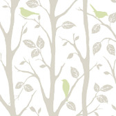 NU1655 - Grey and Green Sitting In A Tree Peel & Stick Wallpaper