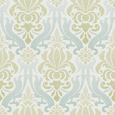 NU1656 - Blue and Green Nouveau Damask Peel & Stick Wallpaper