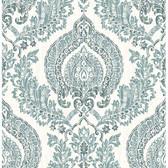 NU1702 - Kensington Damask Blue Peel & Stick Wallpaper