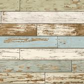 NUS2188 - Old Salem Vintage Wood Green Planks Peel & Stick Wallpaper