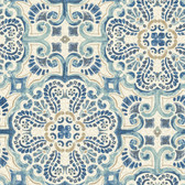 NUS2235 - Blue Florentine Tile Peel & Stick Wallpaper