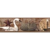 YC3304BD-Welcome Home Interior Swan On Brick Border