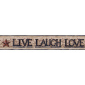 YC3344BD-Welcome Home Live, Laugh, Love Word Block Border-Taupe