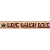 YC3345BD-Welcome Home Live, Laugh, Love Word Block Border-Tan