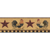 YC3402BD-Welcome Home Manila Tan Rooster Border