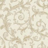 Saint Augustine Embroidered Scroll BQ3820 Beige-Linen Wallpaper