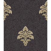 Saint Augustine Baroque Medallion Fleur De Lis BQ3899 Wallpaper in charcoal and Gold