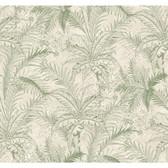 Texture Passport Leaf Toile GX8101 Sage-White Wallpaper