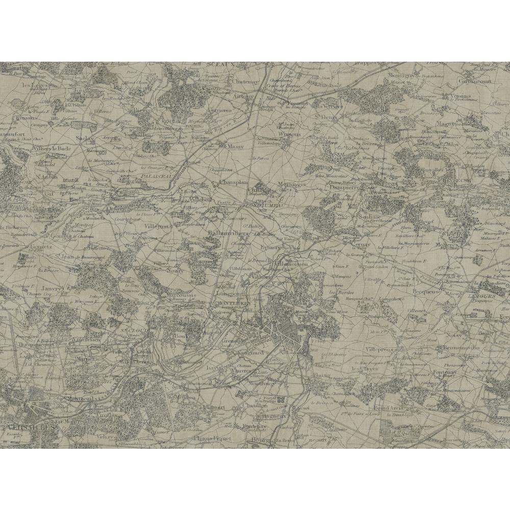 Texture Passport Vintage Map GX8175 Gravel Grey Wallpaper